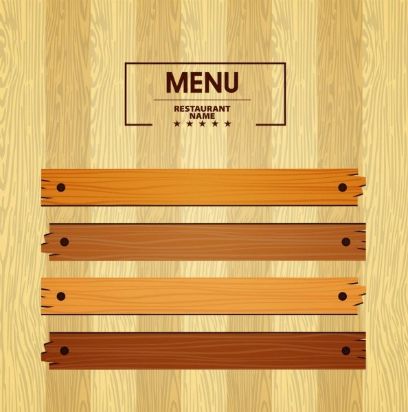 Blank Restaurant Menu Template Awesome Menu Template Bright Wooden Pattern Decoration Free Vector