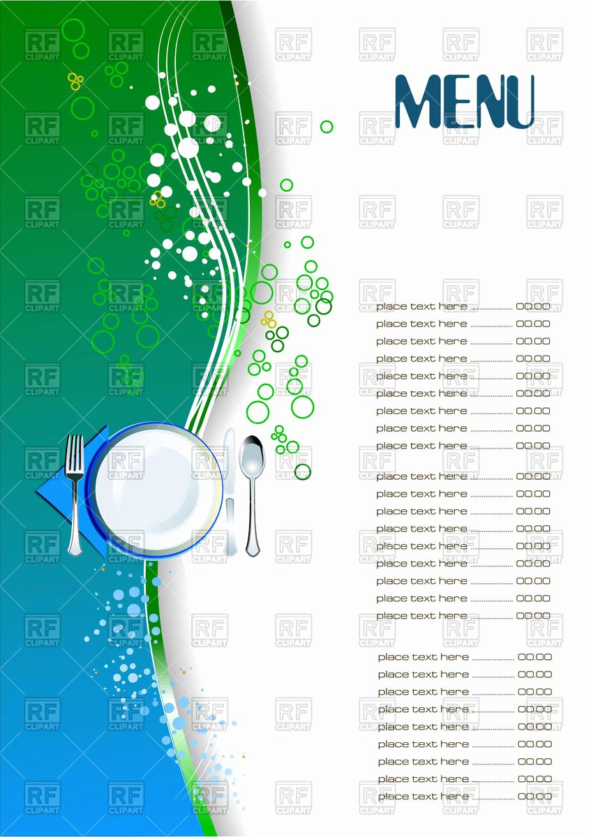 Blank Restaurant Menu Template Lovely Restaurant Menu Blank Template Vector Image Of Food and