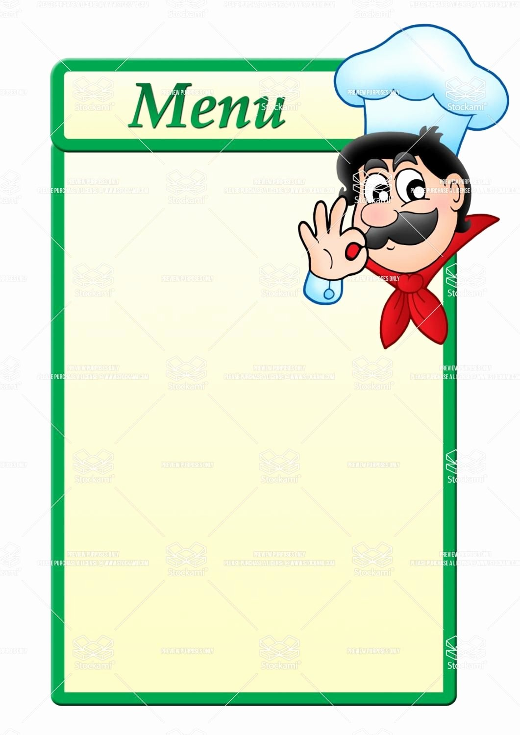 Blank Restaurant Menu Template Lovely Stock Image Menu Template with Cartoon Chef 1 061