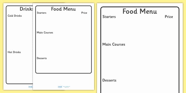 Blank Restaurant Menu Template Luxury Editable Menu Writing Frame Editable Editable Menu