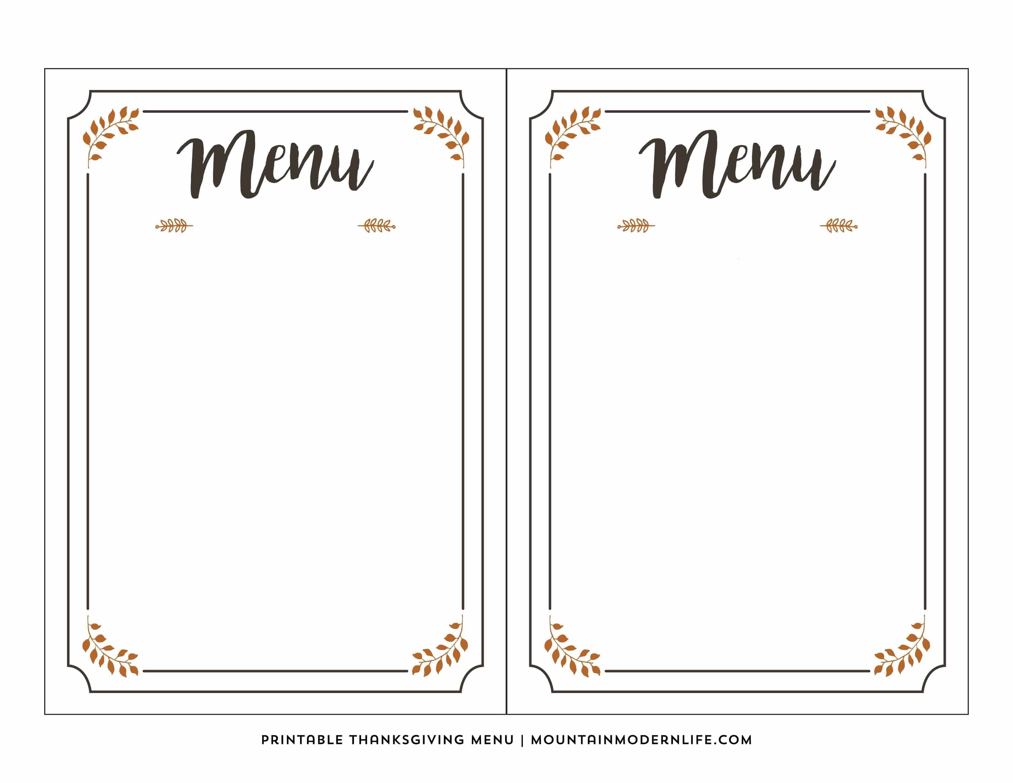 Blank Restaurant Menu Template Luxury Free Printable Thanksgiving Menu