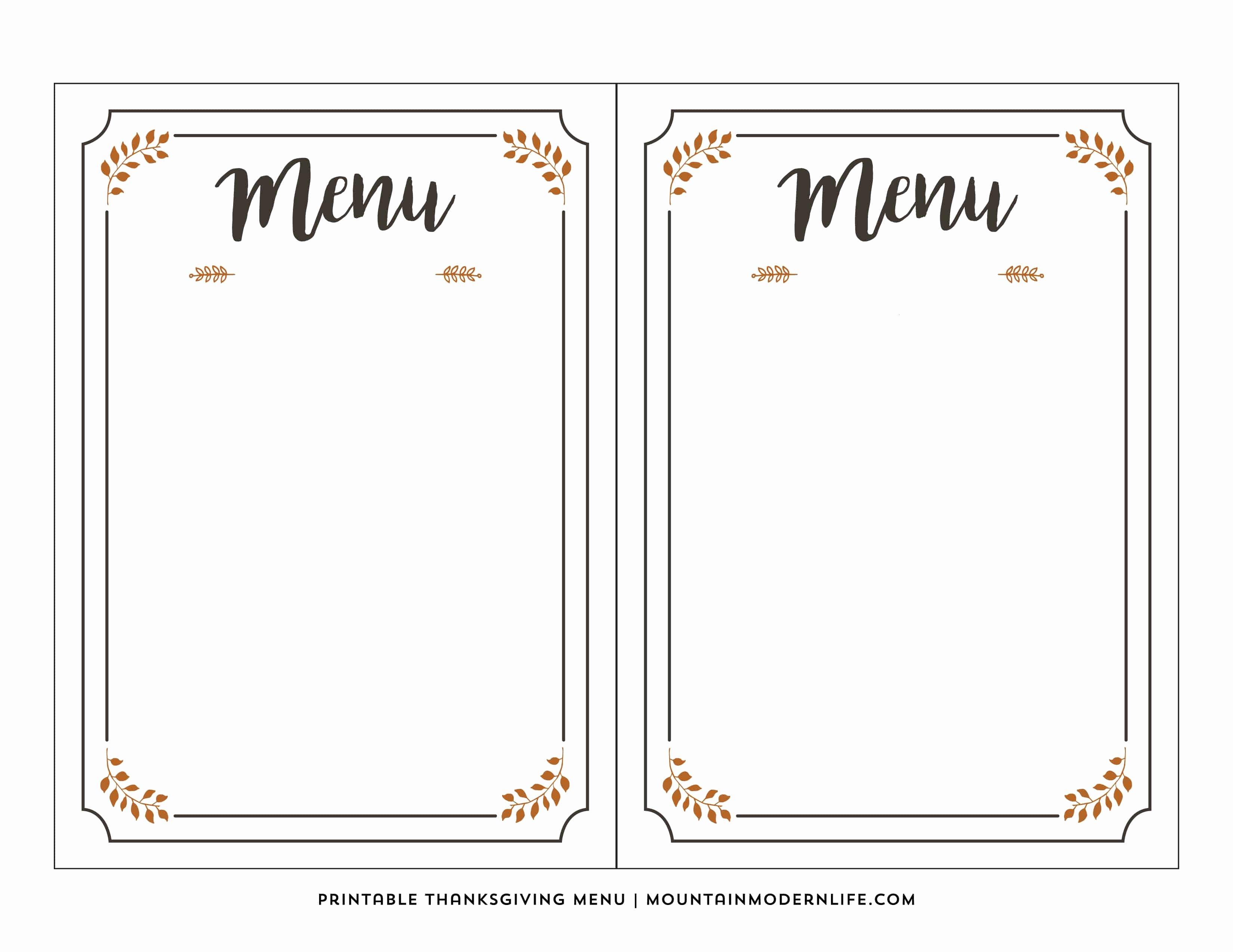Blank Restaurant Menu Template Luxury Free Printable Thanksgiving Menu