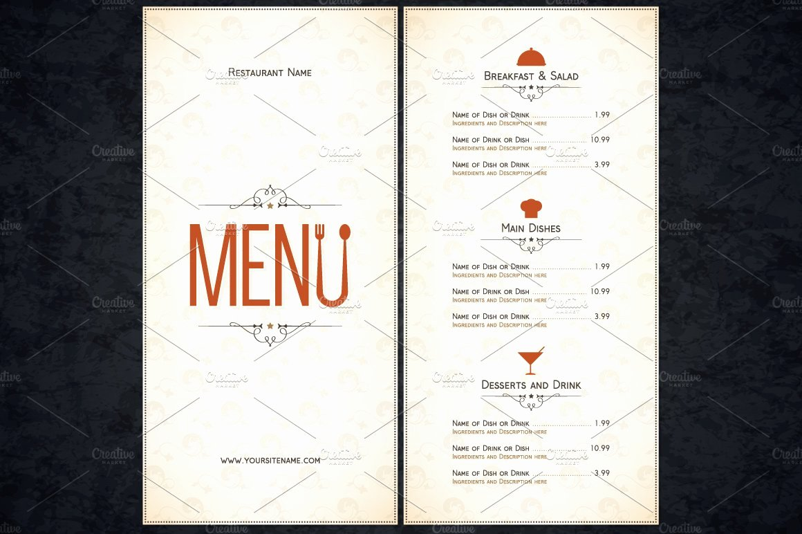 Blank Restaurant Menu Template Luxury Restaurant Menu Template Card Templates Creative Market