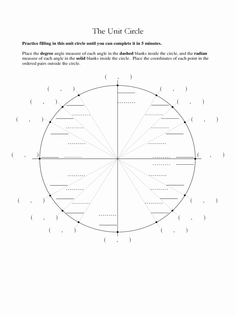 Blank Unit Circle Pdf Best Of Unit Circle Chart 3 Free Templates In Pdf Word Excel