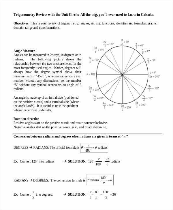 Blank Unit Circle Pdf Elegant 16 Unit Circle Chart Templates Free Sample Example