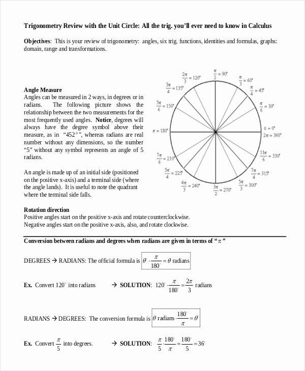 Blank Unit Circle Pdf Elegant 16 Unit Circle Chart Templates Free Sample Example