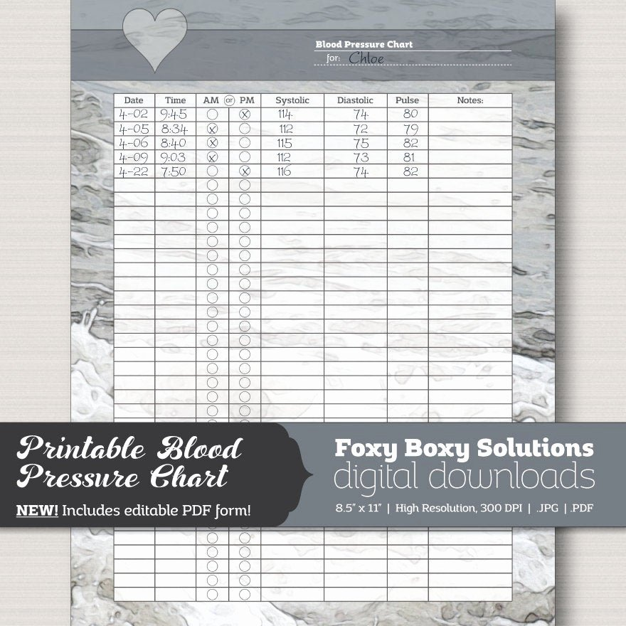 Blood Pressure Chart Pdf Elegant Printable Blood Pressure Chart with Editable Pdf form