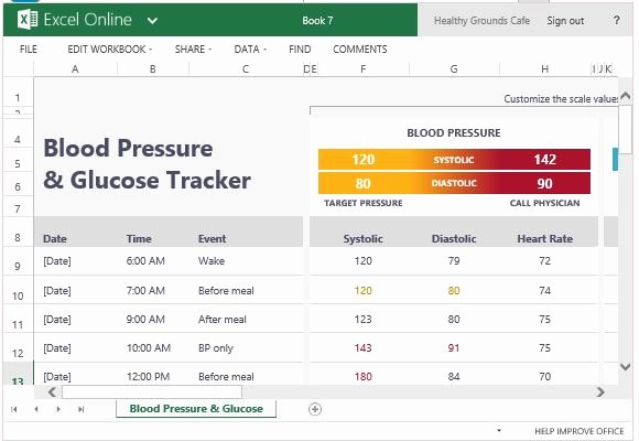 Blood Sugar Log Excel Inspirational Blood Pressure and Glucose Tracker for Excel