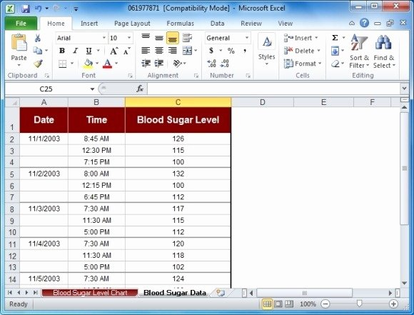 Blood Sugar Log Excel New Blood Sugar Tracker Template for Excel