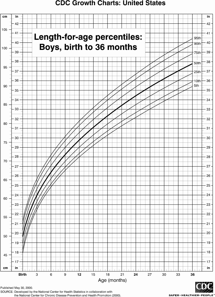 Boys Height Weight Chart Luxury Length Chart for Boys Birth to 36 Months