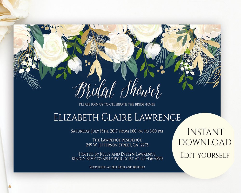 Bridal Shower Invite Template Awesome Bridal Shower Invitation Template Editable Template Bridal