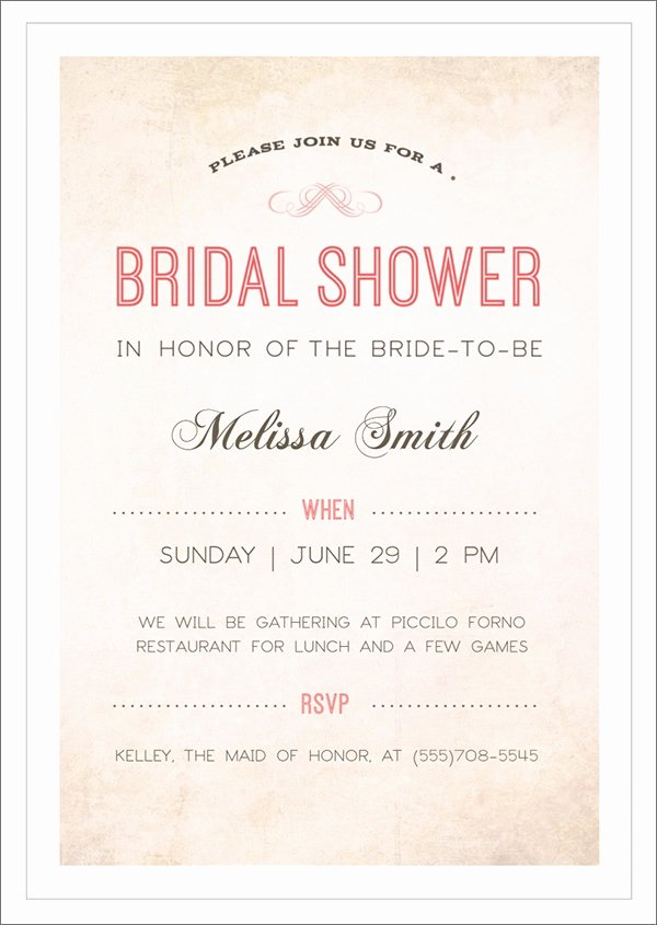 Bridal Shower Invite Template Awesome Free 37 Best Bridal Shower Invitation Templates In