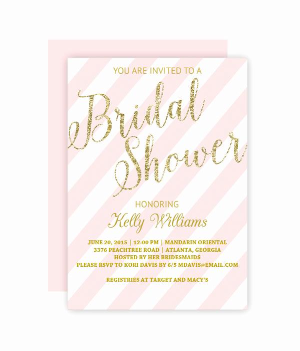 Bridal Shower Invite Template Best Of Glitter and Blush Bridal Shower Invitation Chicfetti