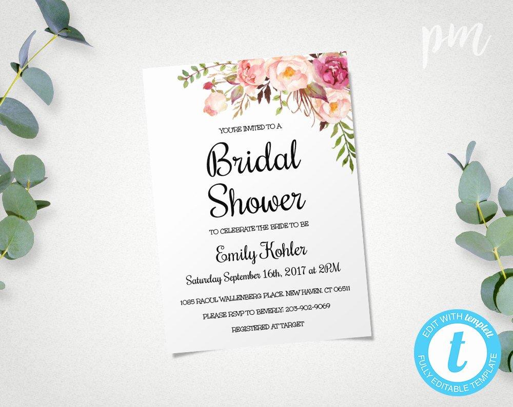 Bridal Shower Invite Template Elegant Floral Printable Bridal Shower Invitation Template Bridal