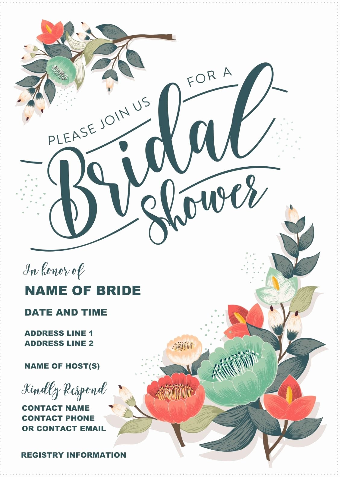 Bridal Shower Invite Template Fresh Our Gorgeous Printable Bridal Shower Invitation is totally