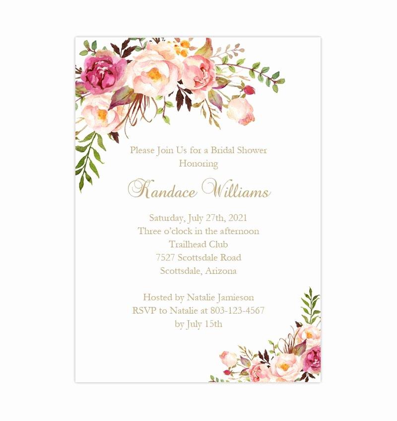 Bridal Shower Invite Template Lovely Bridal Shower Invitation Template Romantic Blossoms