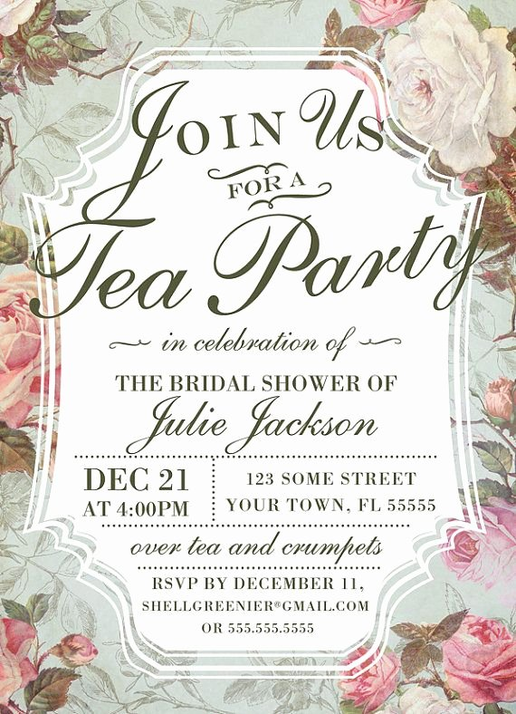 Bridal Shower Invite Template Lovely Bridal Shower Tea Party Invitation Template Vintage Rose