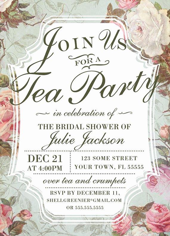 Bridal Shower Invite Template Lovely Bridal Shower Tea Party Invitation Template Vintage Rose