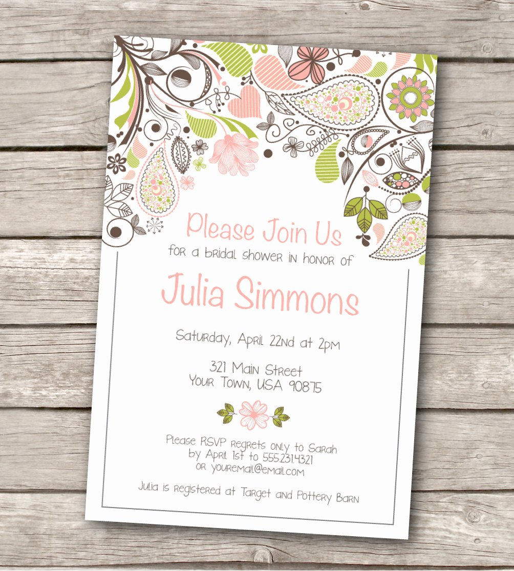 Bridal Shower Invite Template Unique Bridal Shower Invitation Custom Printable by Westandpine