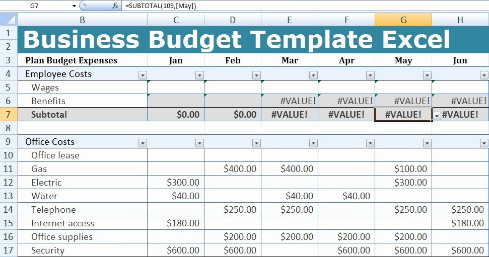 Business Budget Template Excel Inspirational Business Bud Template Excel