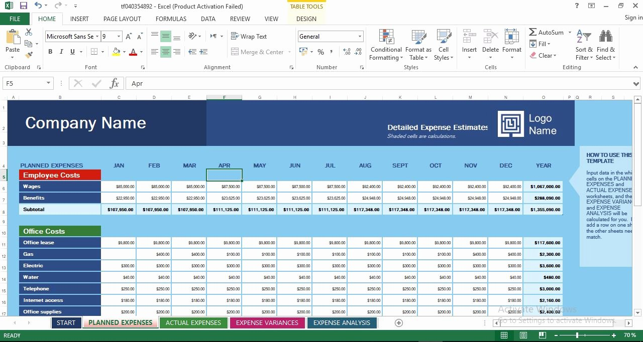 Business Budget Template Excel Unique Business Expense Bud Excel Templates Engineering