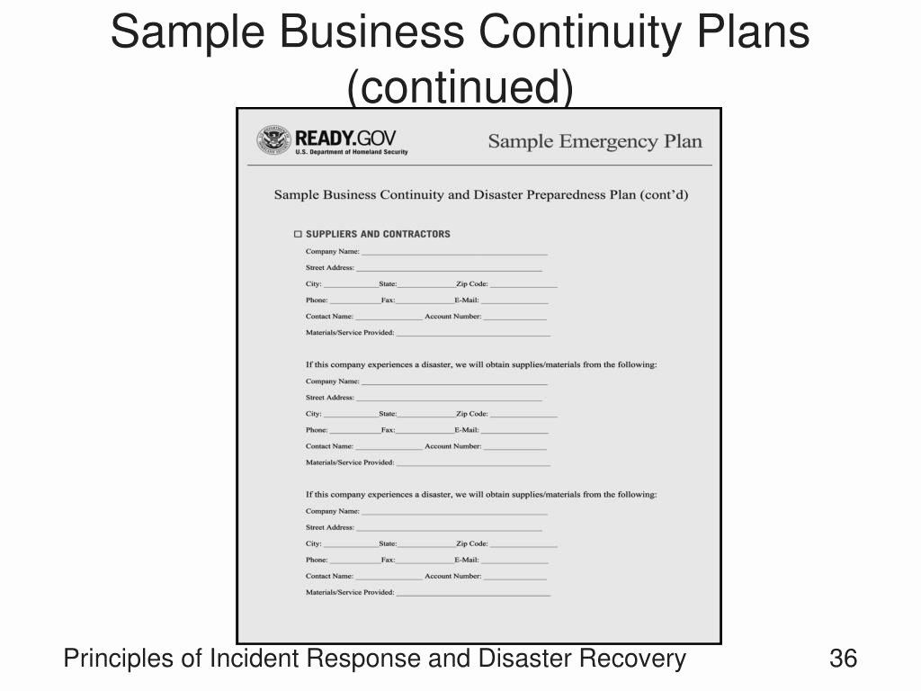 Business Continuity Plan Sample Awesome Ppt Principles Of Incident Response and Disaster