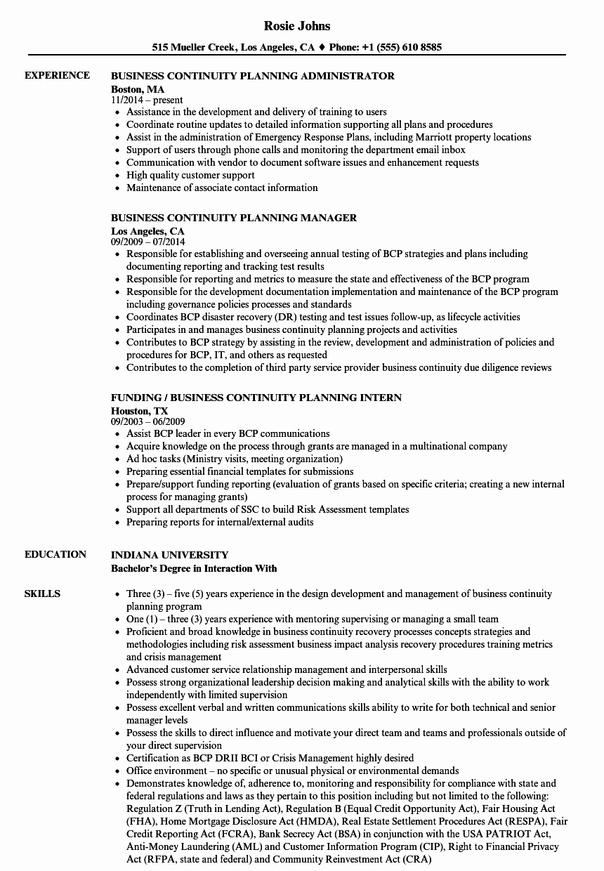 Business Continuity Plan Sample Beautiful Business Continuity Planning Resume Samples