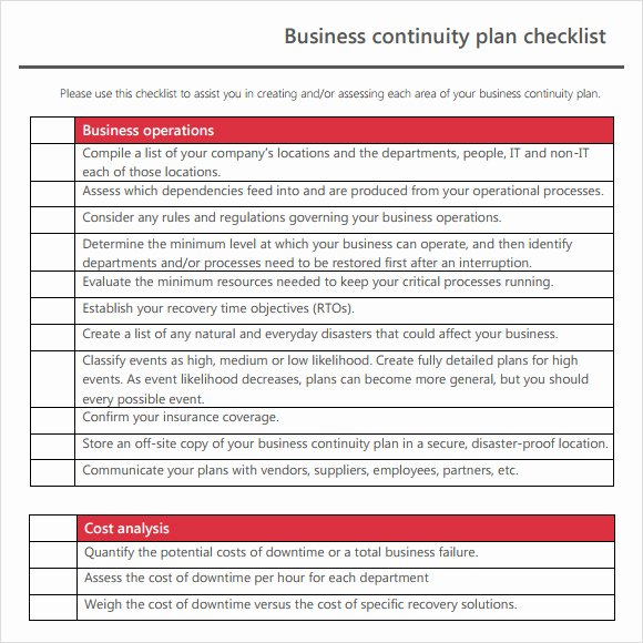 Business Continuity Plan Sample Elegant Business Continuity Plan Template
