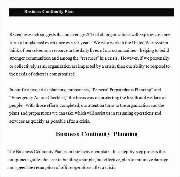 Business Continuity Plan Sample Lovely Free 13 Business Continuity Plan Templates In Free