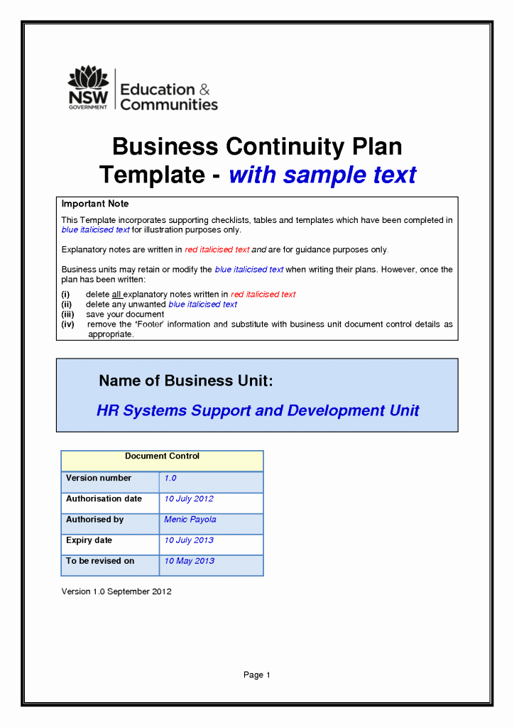 Business Continuity Plan Sample Unique Business Continuity Plan Template