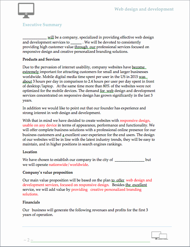 Business Development Plan Template Lovely Website Design and Development Business Plan Sample Pages