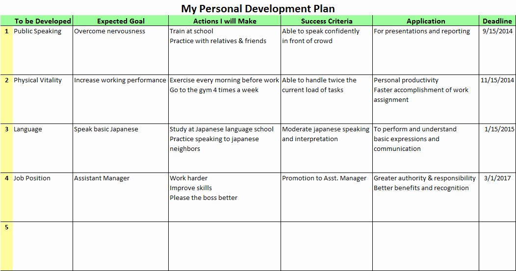 Business Development Plan Template Luxury Personal Development Plans for the Better Future