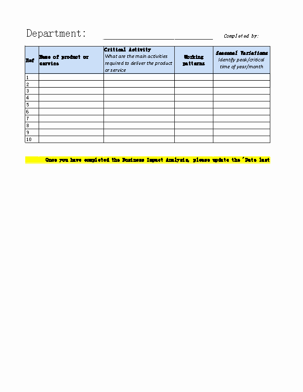 Business Impact Analysis Template Inspirational Business Impact Analysis Template Excel Pdfsimpli