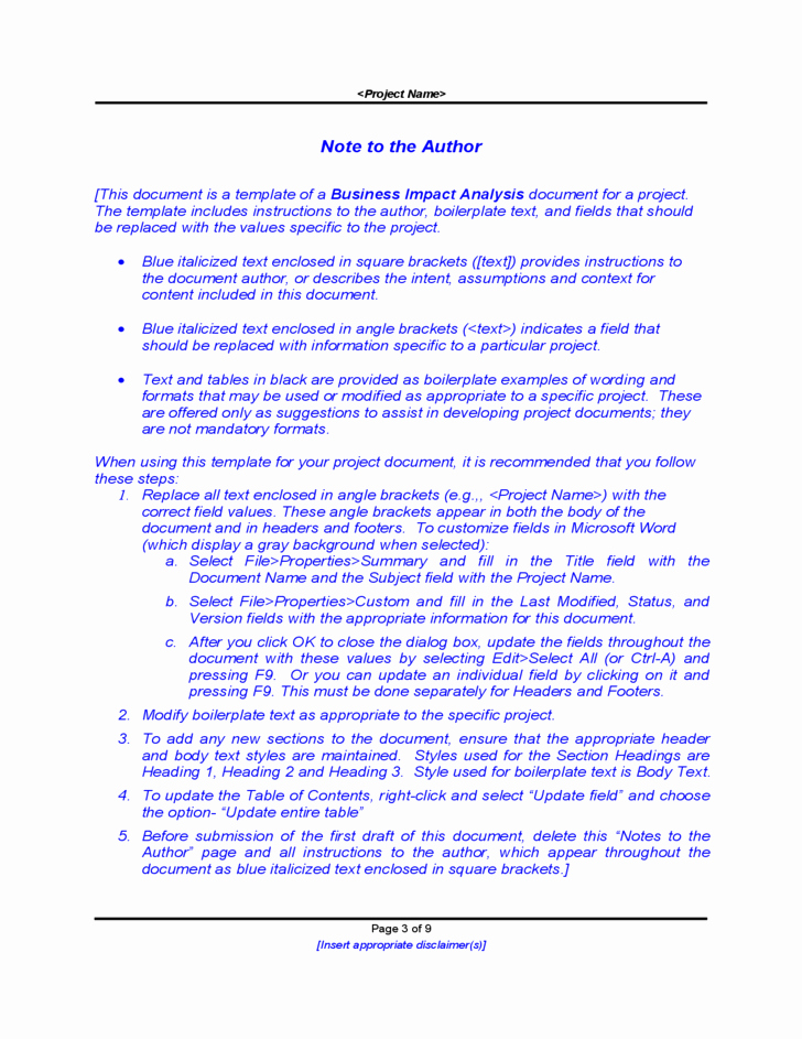Business Impact Analysis Template New Business Impact Analysis Sample Free Download