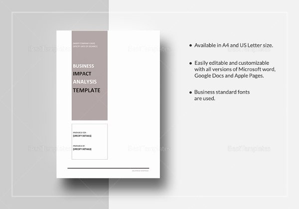 Business Impact Analysis Template New Business Impact Analysis Templates – 9 Free Word Pdf