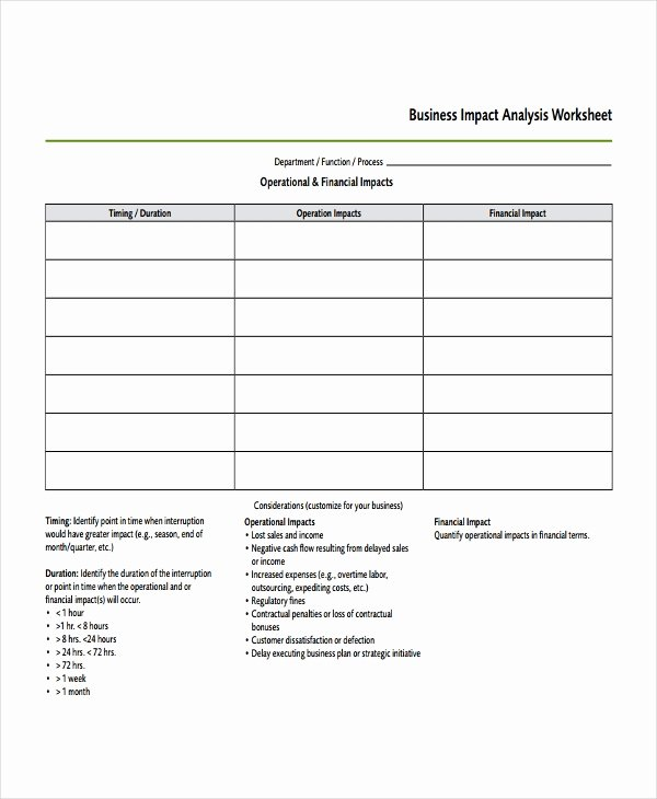 Business Impact Analysis Template New Impact Analysis Template 11 Free Word Pdf Documents
