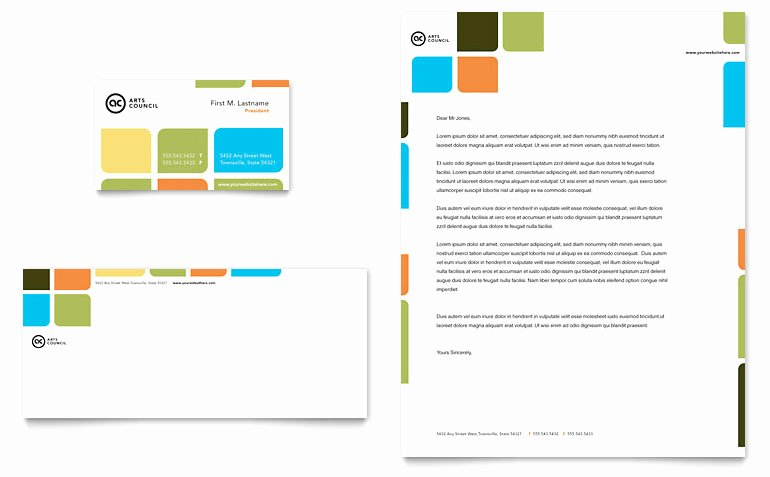 Business Letterhead Template Word Elegant Arts Council & Education Business Card & Letterhead