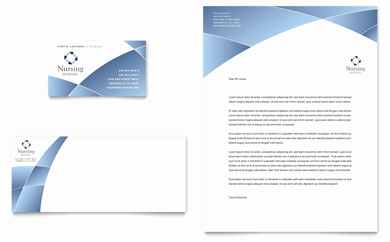 Nursing School Hospital Business Card Letterhead Templates ET D
