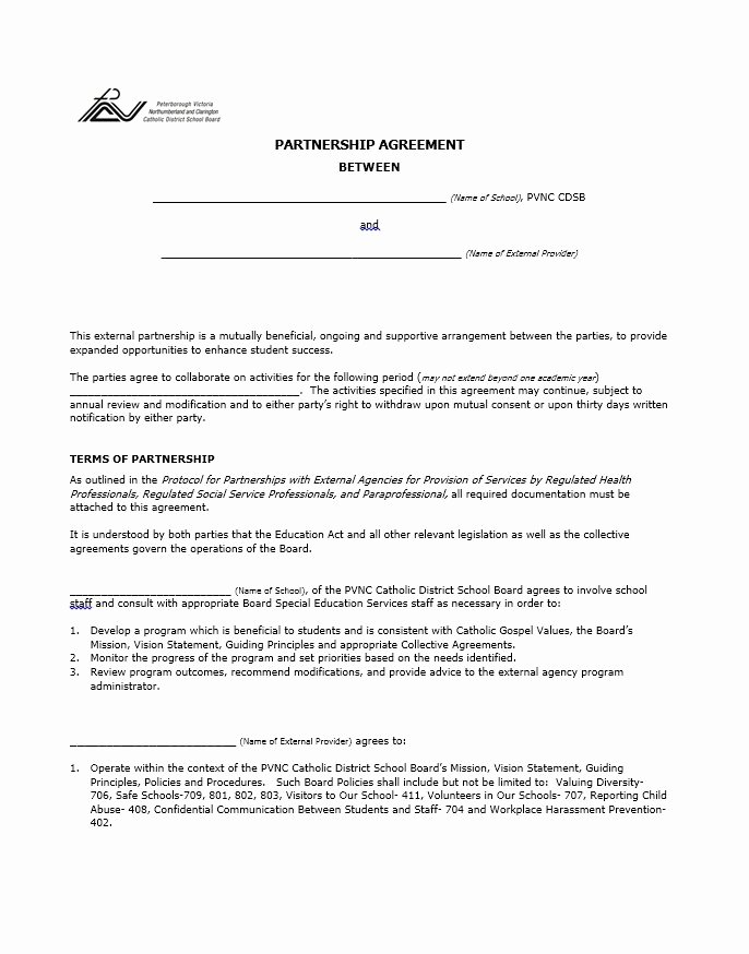 Business Partnership Agreement Template Awesome 40 Free Partnership Agreement Templates Business General