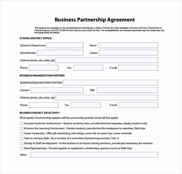 Business Partnership Agreement Template Awesome Sample Business Partnership Agreement – 10 Documents In