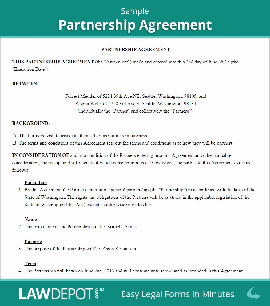 Business Partnership Agreement Template Beautiful Free Partnership Agreement Create Download and Print