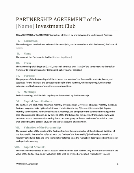 Business Partnership Agreement Template Elegant Partnership Agreement Template