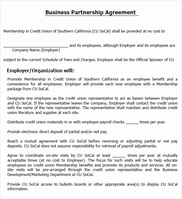 Business Partnership Agreement Template Fresh Business Partnership Agreement 12 Download Documents In