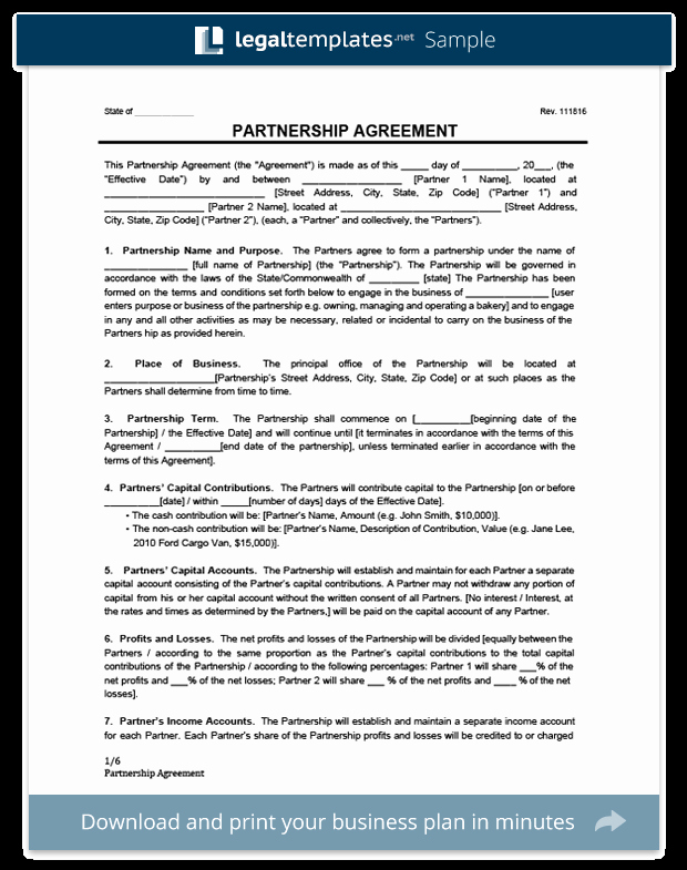 Business Partnership Agreement Template Inspirational Partnership Agreement Template