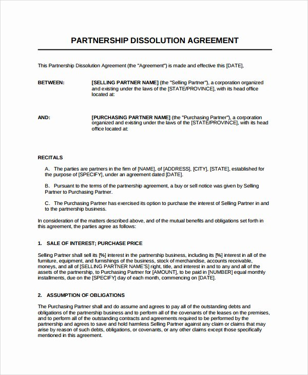 Business Partnership Agreement Template Inspirational Partnership Dissolution Agreement