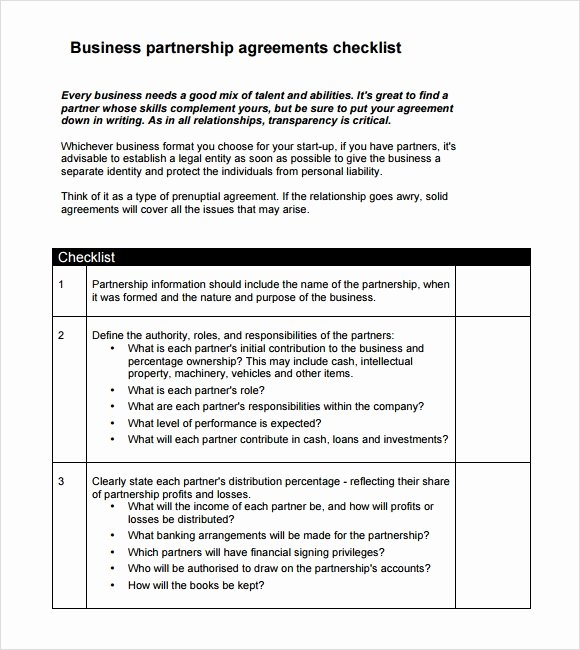 Business Partnership Agreement Template Inspirational Sample Business Partnership Agreement – 10 Documents In
