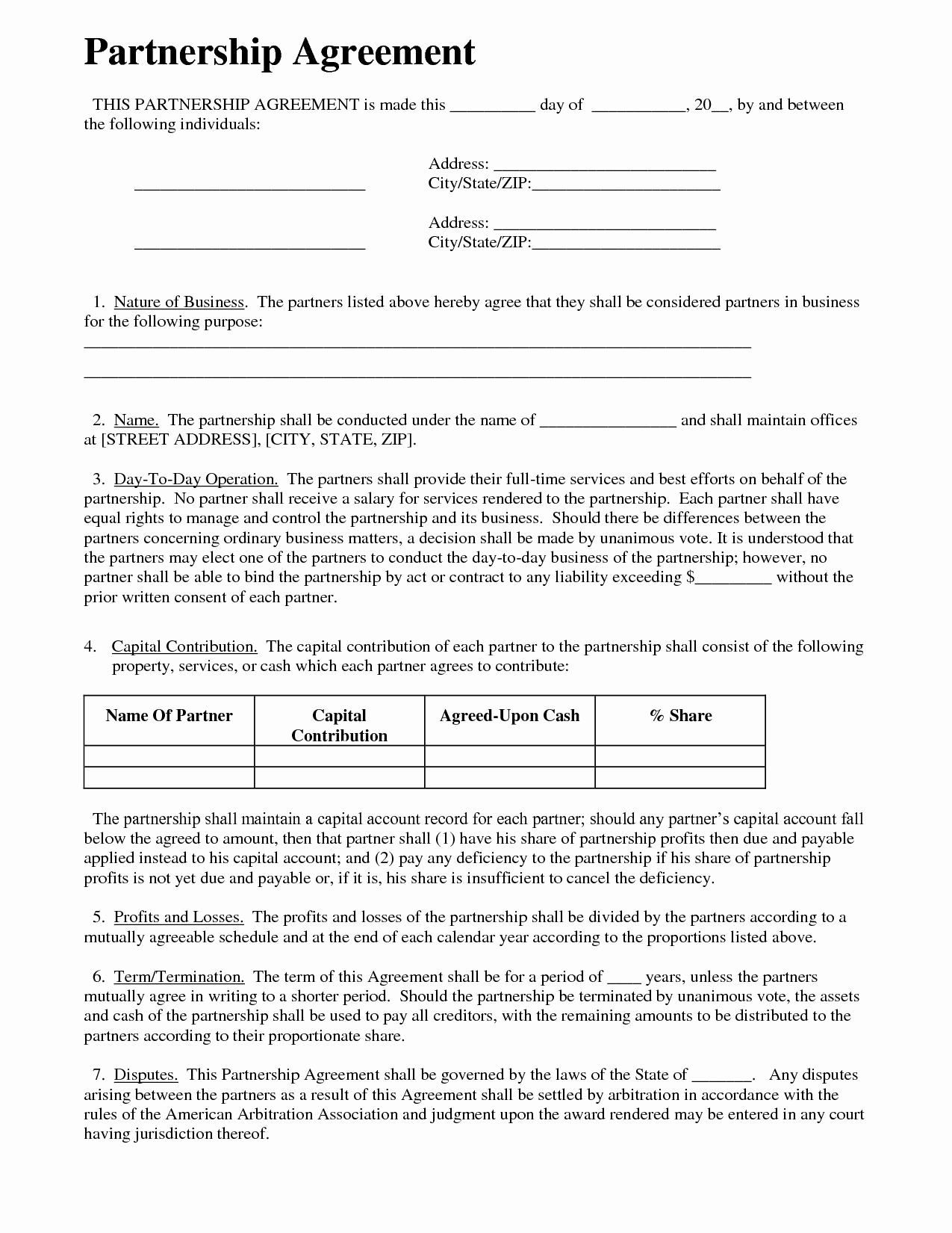 Business Partnership Agreement Template Lovely Partnership Agreement Business Templates