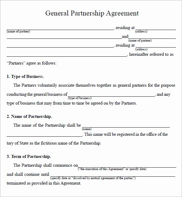 Business Partnership Agreement Template Lovely Partnership Agreement Sample