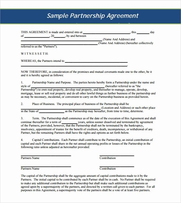 Business Partnership Agreement Template Lovely Sample Business Partnership Agreement – 10 Documents In