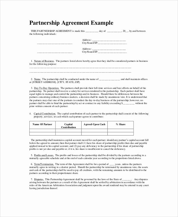 Business Partnership Agreement Template Lovely Simple Business Partnership Agreement 7 Examples In